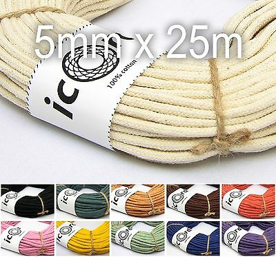 Macrame Cord 5mm 25m (27yds) With Core - 100% Cotton Natural Braided Rope