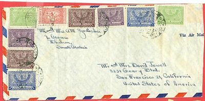 Saudi Arabia Group of 9 stamp used on Commercial cover to USA