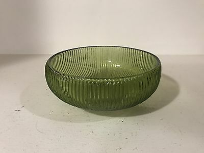 Vintage Ribbed Green Glass Bowl - E.O. Brody Co., Cleveland, Ohio USA