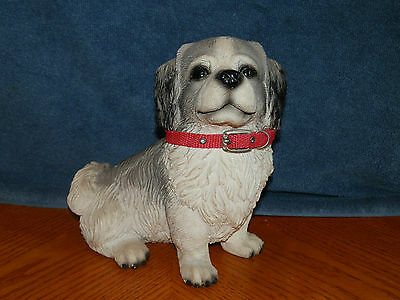 Pekingese figurine statue dog puppy with collar large size gray white