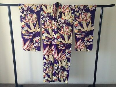 Japanese Woven Silk Vintage Women's Kimono Robe One of a Kind Hand Made Antique
