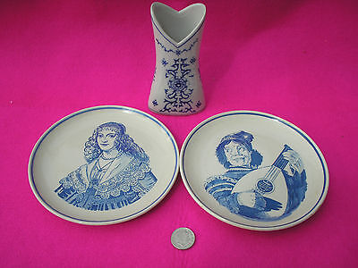 Collectable China 'delft Hand Painted' Plates Blue White Vase Unmarked Job Lot