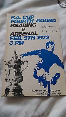 Reading v Arsenal programme F A Cup 1972