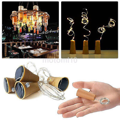 LED Solar Wine Bottle Cork Shaped Copper Wire Fairy Light Wedding Decor US