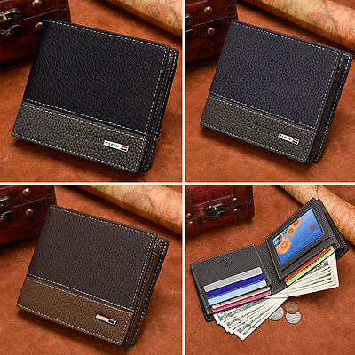 Fashion Mens Boy New Leather Bifold Money Clip Card Holder Wallet Coin Purse