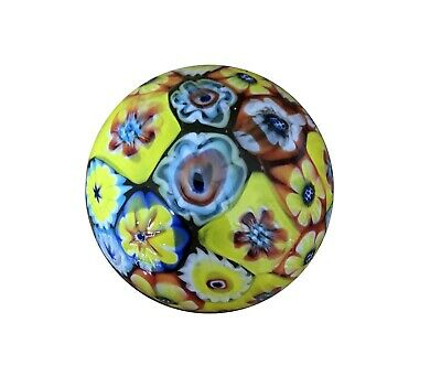 New Glass Paperweight Millefiori Half Ball Shape Flower 8.5 x 8.5 x 5 cm