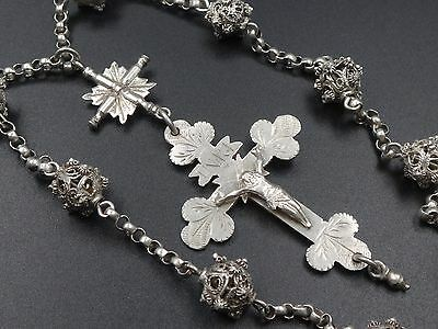 RARE ANTIQUE STERLING SIVER BAVARIAN GERMAN ROSARY FILIGREE BEADS 1840's