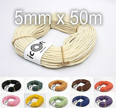 Cotton Cord 5mm 50m (54yds) - Braided Cotton Macrame Rope - Choose Color