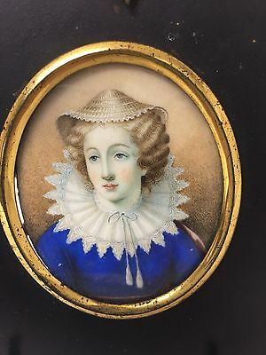 Finely Painted Georgian Portrait Miniature of a Lady in 17th Century Attire