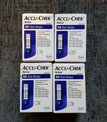 4 Boxes Of 50 Test Strips Blood Glucose (Accu-Chek Aviva)  Sealed