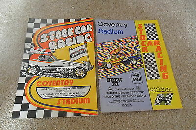 2  Stock Car Programmes At Coventry Stadium 7/11/81 & 1/4/89