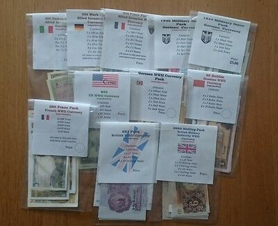 ww2 Repro paper money, British, German, French, USA, Invasion, Pound, Dollar,