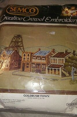 Semco Creative Crewel Embroidery Kit. Gold Rush Town, Complete & Unstarted