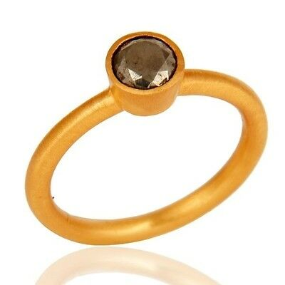 Natural Pyrite Gemstone Ring 18K Gold Plated Solid 925 Sterling Silver Jewelry