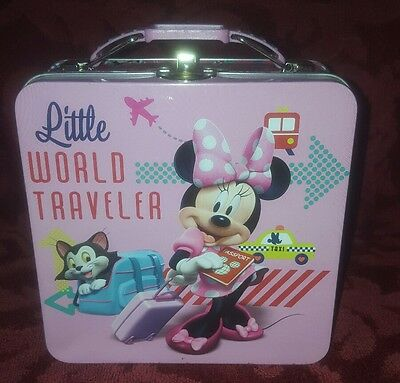 Disney Minnie Mouse Tin Small Lunchbox Toy Box Little World Traveler