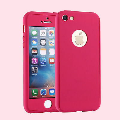 Hybrid 360° Ultra Thin H.Pink Case+Tempered Glass For iPhone 7 Plus {fk807