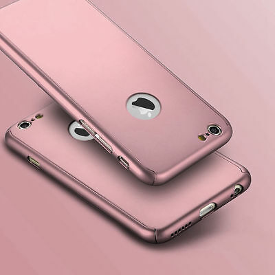 Hybrid 360° Ultra Thin Rosegold Case+Tempered Glass For iPhone 5/5s {fk786