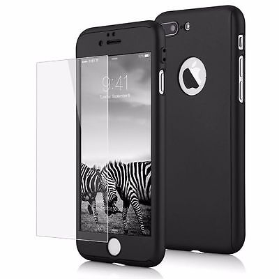 Hybrid 360° Ultra Thin Black Case+Tempered Glass For iPhone 7 Plus {fk792