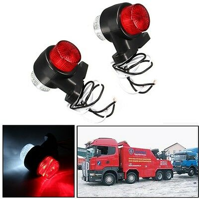 2x 12/24V 8 LED Red White Side Marker Lights Indicator Lamp Trailer Truck Lorry