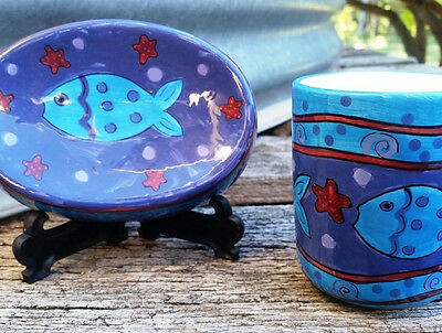 Ceramic Hand Painted Fish Bathroom Set Soap Holder and Toothbrush Holder cup