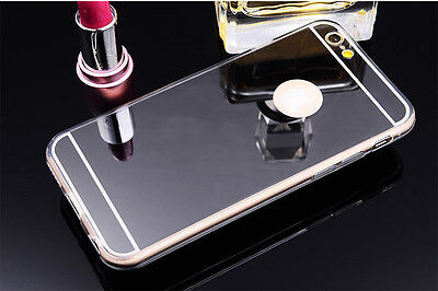 Luxury Ultra-thin TPU Black Mirror Metal Case Cover for iPhone 6 Plus {fk364