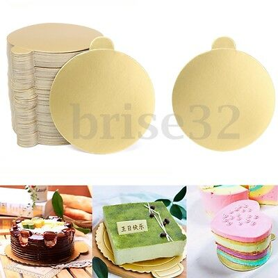 100Pcs 3'' Round Mousse Cake Boards Gold Displays Wedding Birthday Pastry Decor