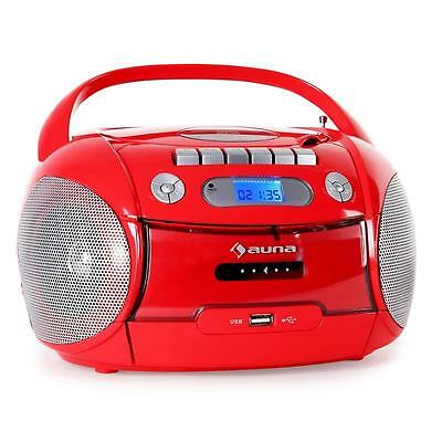 Beach Party Boombox Red Usb Radio Cd Fm/am Portable Cassette Tape Recorder New