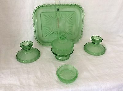 BEAUTIFUL Vintage Green Glass Dressing Table Set 5 Pieces Excellent Condition