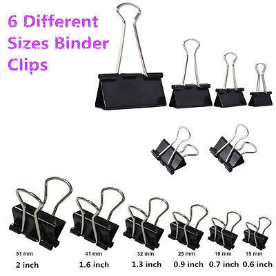 15/19/25/32/41/51mm Black Steel Home Office Foldback Paper Binder Clip Grip Lot