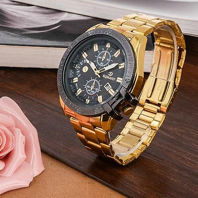 Luxury Mens Gold Stainless Steel Date Quartz Analog Wrist Watch Black Dial AC