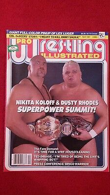 Pwi Wrestling Magazine April 1987 Nikita Koloff And Dusty Rhodes Front Cover.