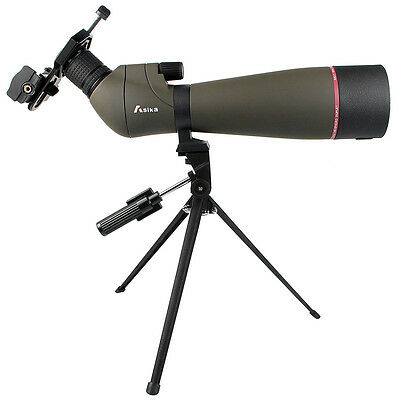 20-60x80 Zoom Angled Spotting Scope+Tripod+Cell Phone Mount Adapter Travel AU