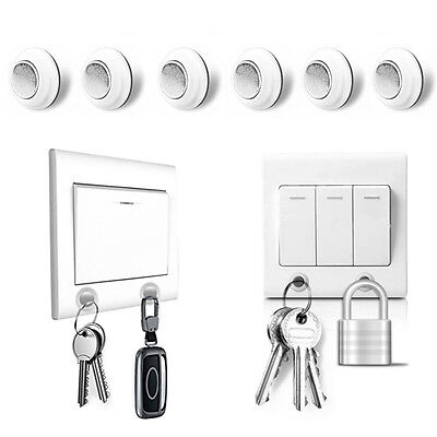 6 PCS Modern Strong Magnetic Key Holder Rack Magnet 3m Adhesive Wall Key Catch