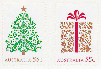 Australian Stamp - 2013 2x55c Christmas Stamps - Tree & Gift P&S