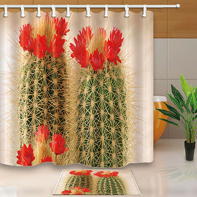 Cactus Flower Bathroom Decor Shower Curtain Waterproof Fabric W 12 Hooks 7171in