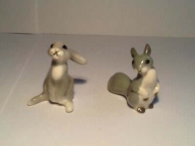 Beautiful Lomonosov Russian Pottery Hare & Squirrel Figures