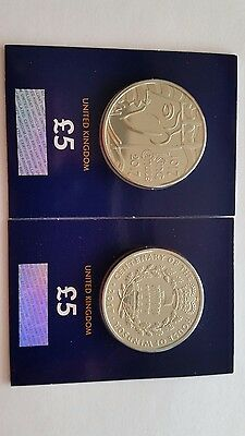 Royal Mint House Of Windsor & King Canute £5 Pound 2 Coins Brilliant