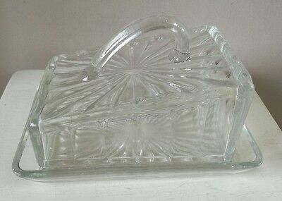 Vintage Art Deco Pressed Glass Butter/cheese Dish