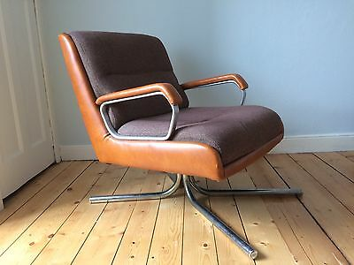 Danish Modern Mid Century 1970's Steel And Brown Leather Easy Chair Armchair