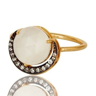 925 Sterling Silver CZ White Moonstone Designer Ring 18K Gold Plated Jewelry