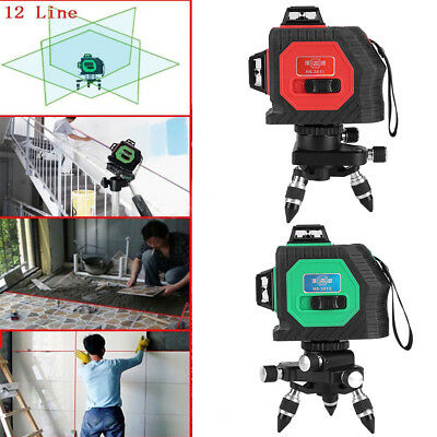 3D Red / Green Laser Level 12 Lines 360° Horizontal & Vertical Cross Build Tool