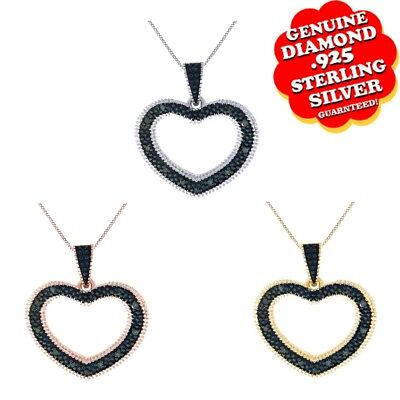 1/10 Ctw Blue Natural Diamond Heart Pendant 14K Gold Over 925 Sterling Silver