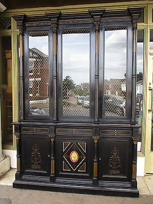 Victorian Antique Ebonised & Gilt Glazed Bookcase / Dresser / Display Cabinet