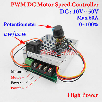 DC 10-50V 12V 24V 48V 60A PWM DC Motor Speed Controller CW CCW Reversible Switch