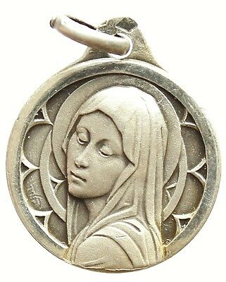 ANTIQUE STERLING SILVER MEDAL PENDANT SAINT VIRGIN MARY by C. CHARL
