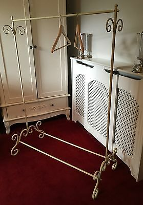 Vintage Shabby Chic French Cream Metal Detailed Clothes Rail Coat Stand