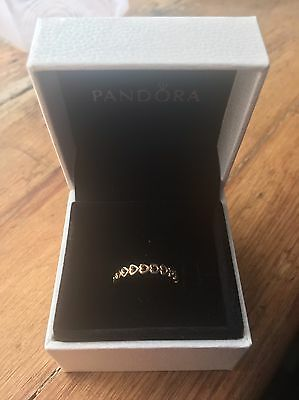 Brand New Genuine Pandora 14ct Gold Linked Love Open Heart Ring Size 54 150177