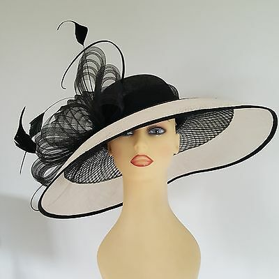 Ladies Wedding Races Hat Available to Hire £45 Black & Cream by Jacques Vert