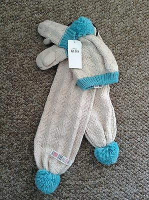 BNWT M&S Kids Girls Scarf Hat And Mittens Set Age 3-6 Years RRP £14