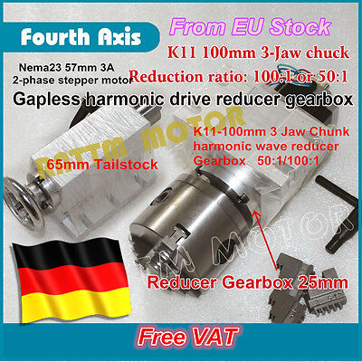 [DE Stock] CNC Router Rotarty Axis,4th A Axis K11-100mm 3 Jaw & 65mm tailstock